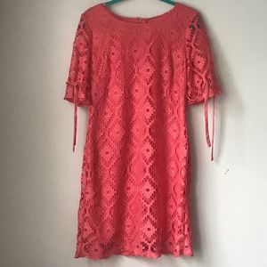 Coral lace dress w/tied sleeves
